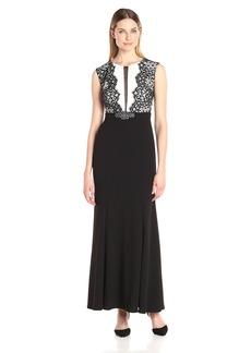 Alex Evenings Women's Sleeveless Lace Illusion Long Evening Gown Dress