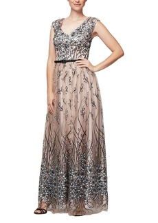 Alex Evenings Women's Sleeveless V-Neck Embroidered Gown with Satin Detail