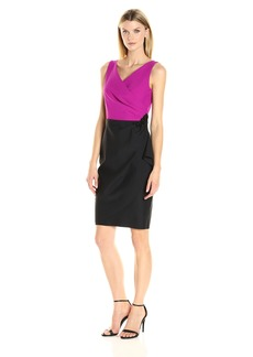 Alex Evenings Women's Slimming Color Block Cocktail Dress