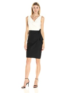 Alex Evenings Women's Slimming Color Block Cocktail Dress