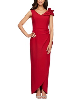 Alex Evenings Women's Slimming Long Side Ruched Dress with Cascade Ruffle Skirt red rosette