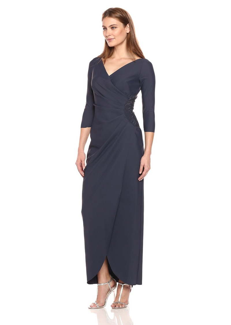 Alex Evenings Women's Slimming Long Side Ruched Dress with Embellishment at Hip