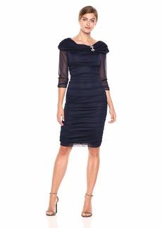 Alex Evenings Women's Slimming Short Off-The-Shoulder Sheath Dress