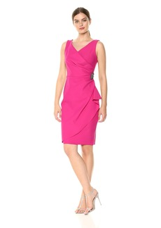 Alex Evenings Women's Slimming Short Ruched Dress with Ruffle Skirt (Petite and Regular Sizes)