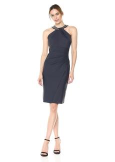 Alex Evenings Women's Short Sheath Slimming Stretch Halter Neck Dress Charcoal