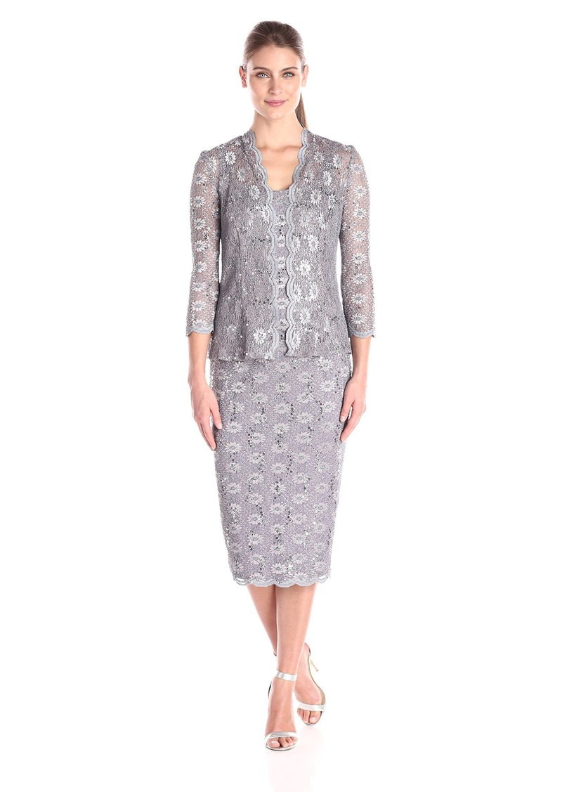 Alex Evenings Women's T-Length All Over Stretch Lace Jacket Dress with 3/4 Sleeves