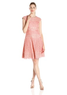 Alex Evenings Women's T-Length Cap Sleeve Lace Dress with Full Skirt