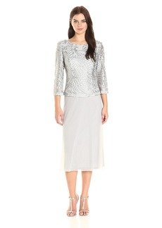 Alex Evenings Women's T-Length Dress with 3/4 Illusion Sleeves and Cowl Back
