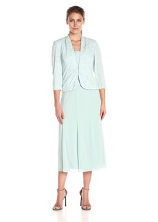 Alex Evenings Women's T-Length Mock Jacket Dress with Three-Quarter Sleeve