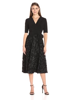 Alex Evenings Women's T-Length Party Dress with Full Rosette Skirt and Tie Faux Belt