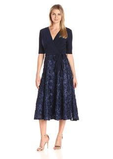 Alex Evenings Women's Tea Length Dress With Rosette Skirt and Tie Belt