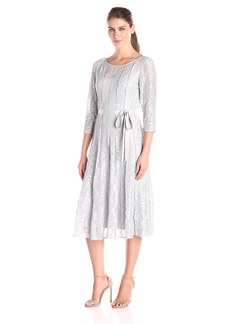 Alex Evenings Women's Tea Length Dress with Tie Belt and Panel Detail (Petite and Regular Sizes)