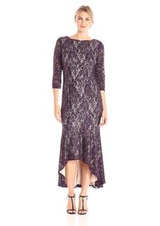 Alex Evenings Women's Tea Length Lace Dress with High Low Skirt