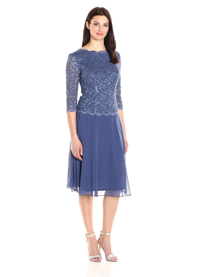 Alex Evenings Alex Evenings Womens Tea Length Lace Mock Dress