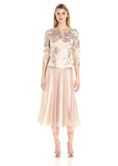 Alex Evenings Women's Tea-Length Mock Dress with Embroidered Bodice