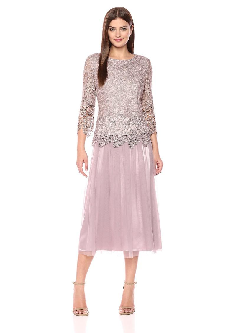35ef52069f3 Alex Evenings Alex Evenings Women s Tea Length Mock Dress with Tulle ...