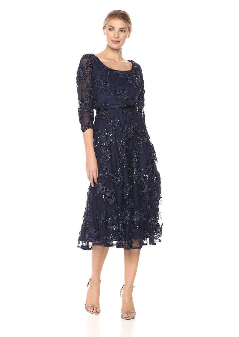 Alex Evenings Women's Tea Length Soutache Dress with Satin Belt (Petite and Regular Sizes)
