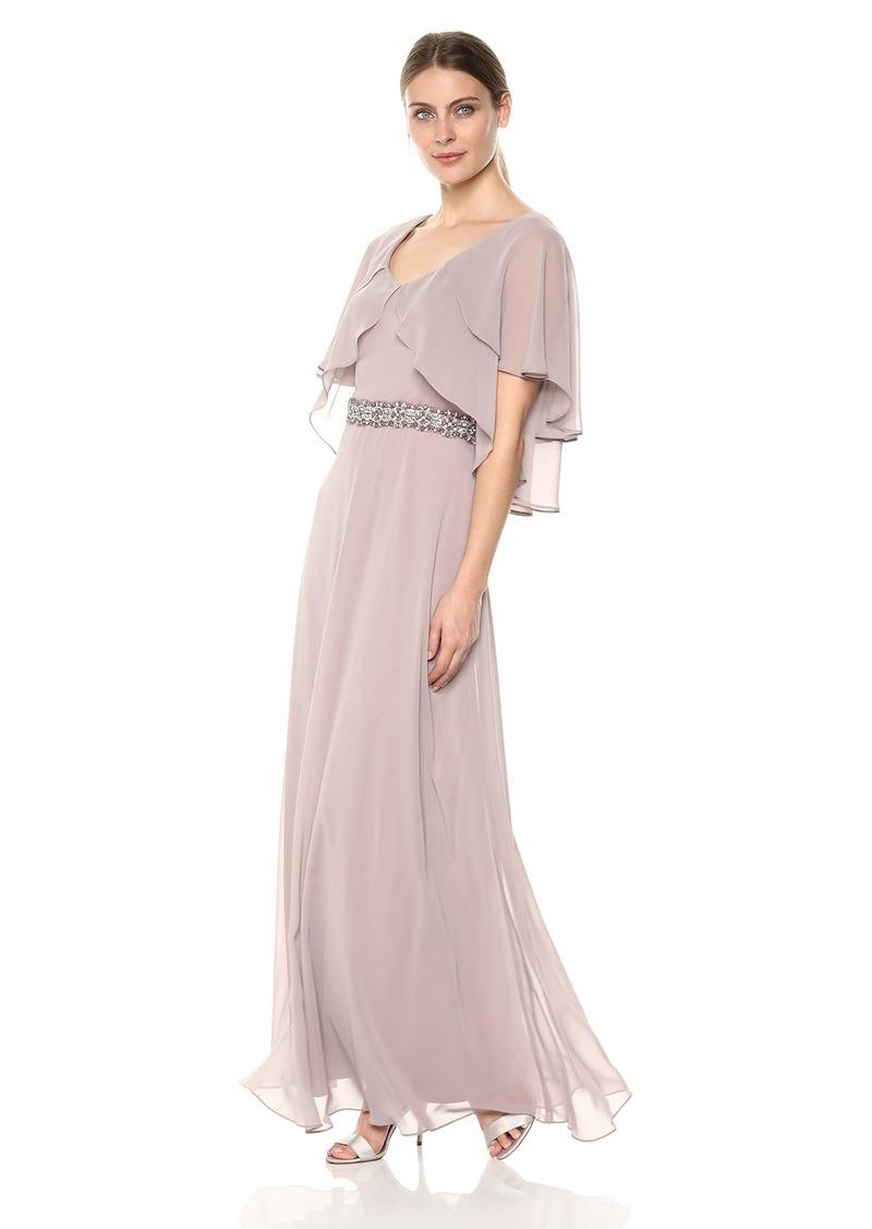 Alex Evenings Women's Tiered Flutter Sleeve Dress with Beaded Waist