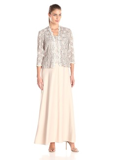 Alex Evenings Women's Two Piece Dress with Lace Jacket  18