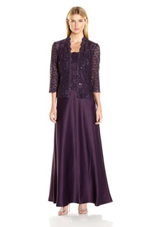 Alex Evenings Women's Two Piece Dress With Lace Jacket (Petite and Regular Sizes)