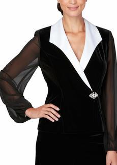 Alex Evenings Women's Velvet Blouse Top (Multiple Styles Petite and Regular Sizes)  XL