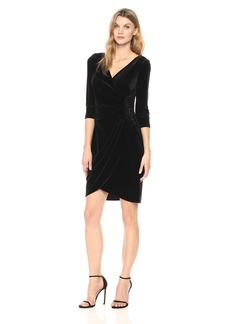 Alex Evenings Women's Velvet Cocktail Dress With Tonal Beading At Hip (Petite and Regular Sizes)