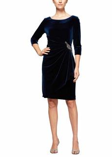 Alex Evenings Women's Velvet Short Dress w/Hip Detail (Petite and Regular Sizes)