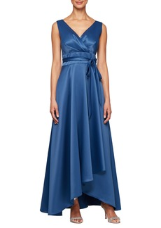 Alex Evenings Wrap Look Satin Evening Dress (Regular & Petite)