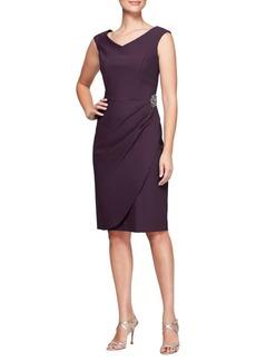 Alex Evenings Wrap-Skirt Beaded Sheath Dress