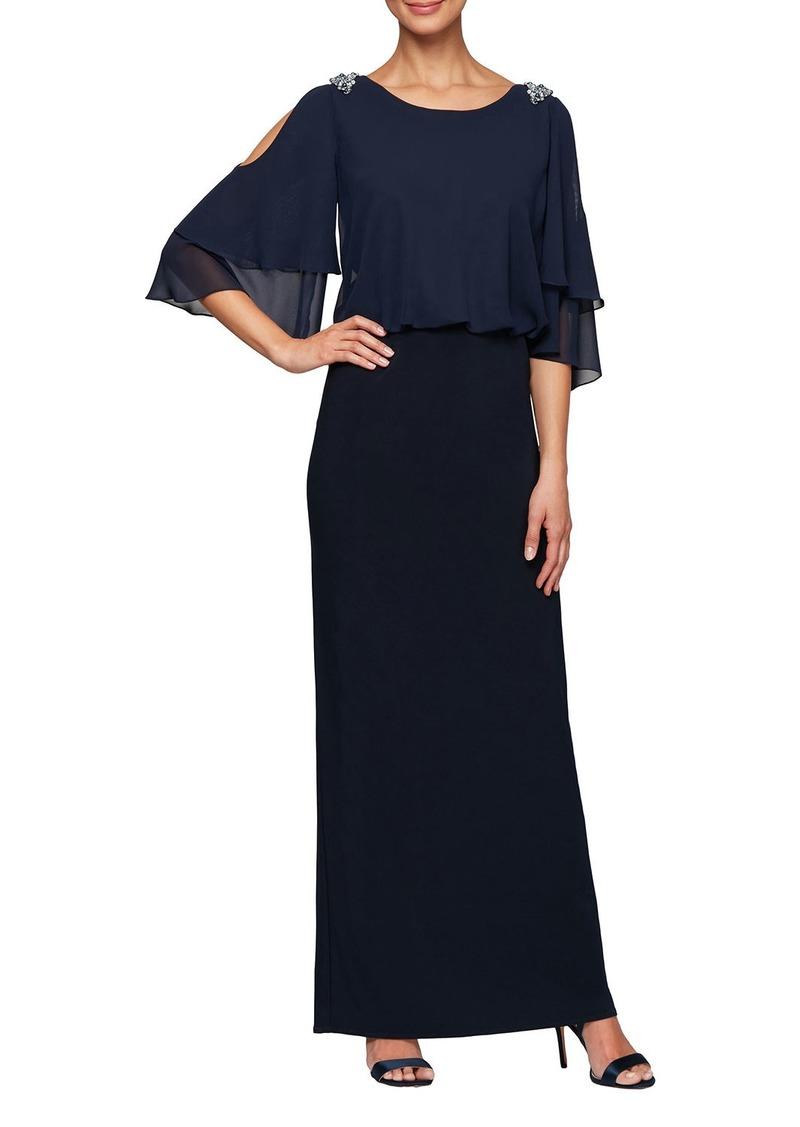 Alex Evenings Blouson Column Cold-Shoulder Gown