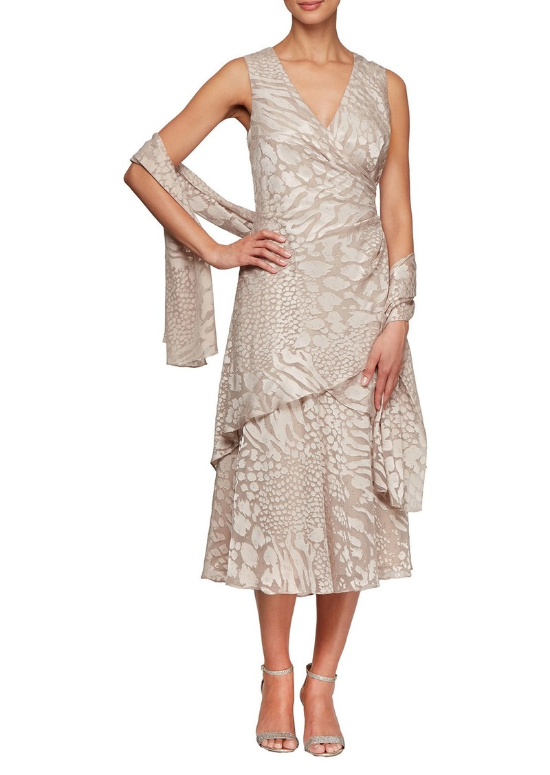 Alex Evenings Burnout Tiered Dress with Shawl