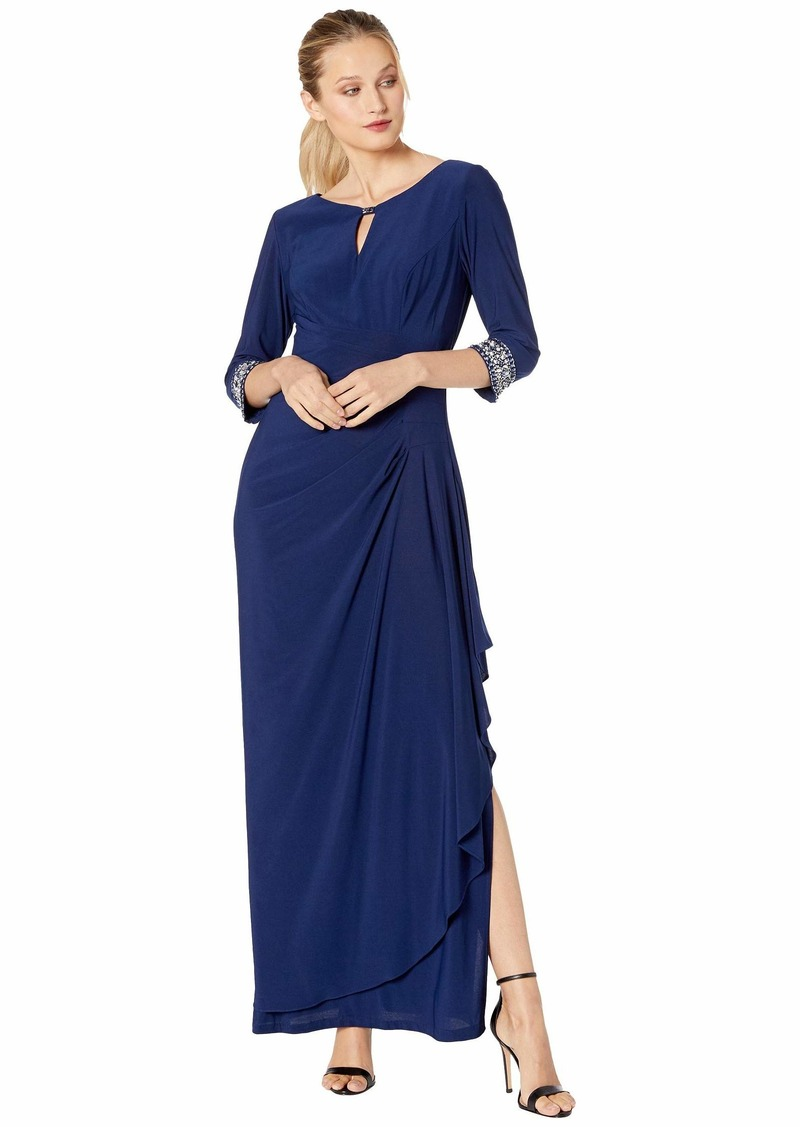 Alex Evenings Long A-Line Dress with Embellished Keyhole Cutout Neckline & Embellished Sleeves