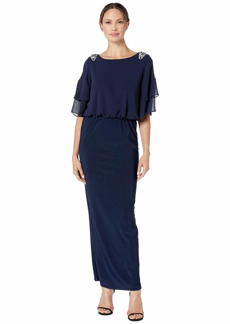 Alex Evenings Long Blouson Column Dress