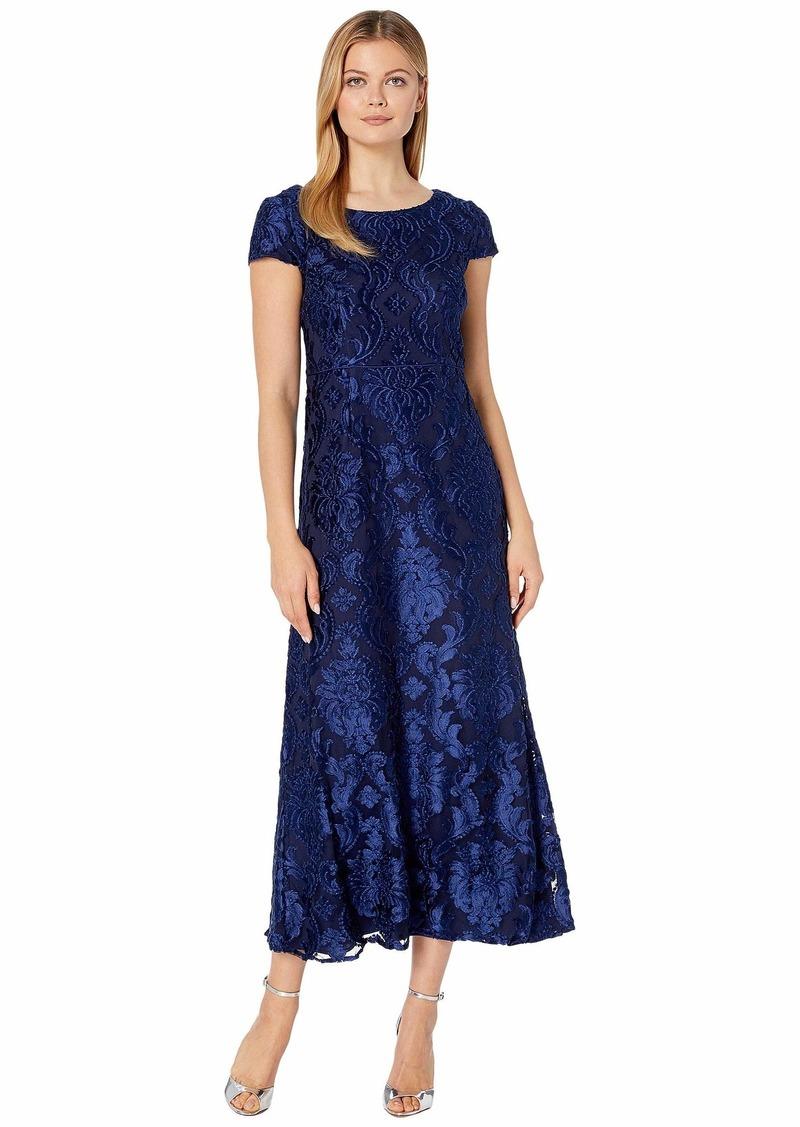 Alex Evenings Long Burnout Velvet A-Line Dress