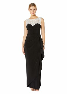 Alex Evenings Long Cap Sleeve Dress with Embellished Embroidered Neckline