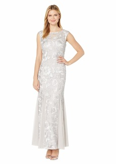 Alex Evenings Long Cap Sleeve Embroidered Dress with Godet Detail Skirt
