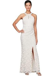 Alex Evenings Long Column Dress with Embellished Halter Neckline