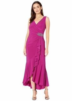 Alex Evenings Long Dress with Ruffle High-Low Wrap Skirt