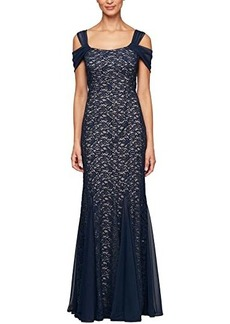 Alex Evenings Long Fit-and-Flare Cold-Shoulder Dress