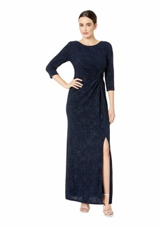 Alex Evenings Long Glitter Knit Knot Front Dress with Front Slit
