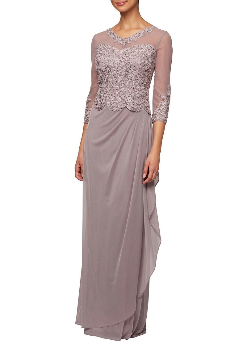 Alex Evenings Long Mesh Dress with Embroidered Illusion Bodice