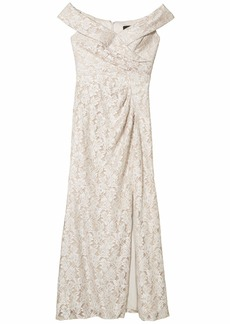 Alex Evenings Long Off-the-Shoulder Fit-and-Flare Lace Dress