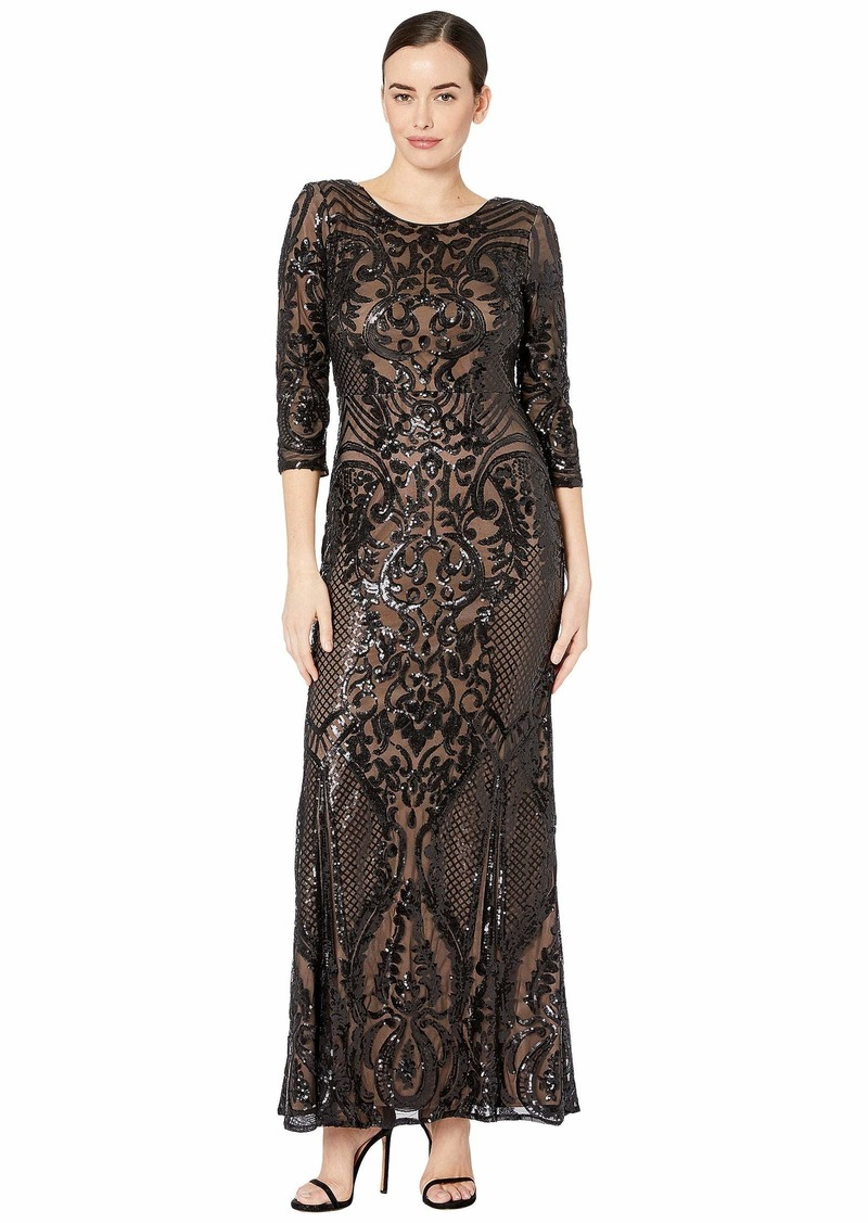 Alex Evenings Long Sequin Fit-and-Flare Dress