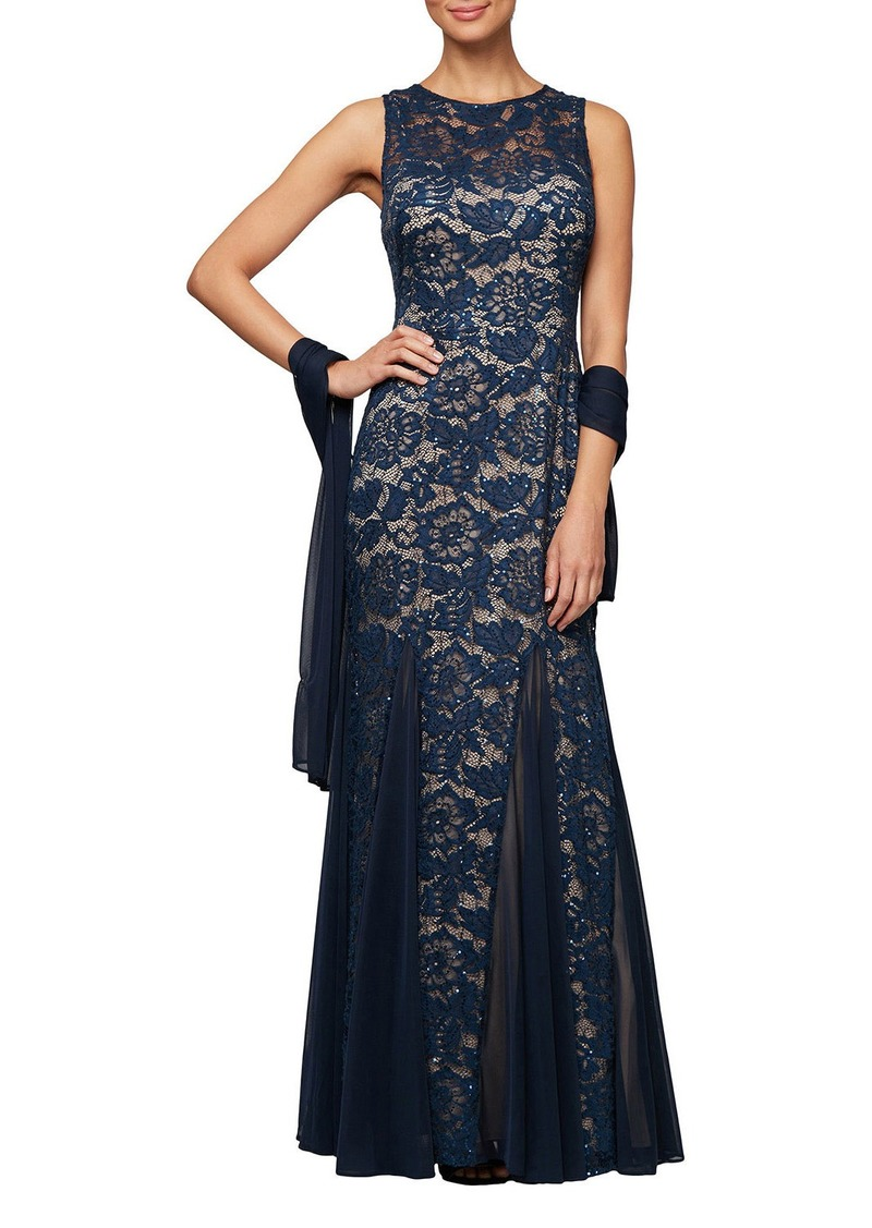 Alex Evenings Long Sleeveless Lace Fit-and-Flare Godet Dress w/ Shawl