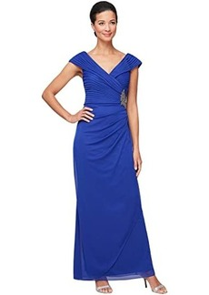 Alex Evenings Long Surplice Neckline Dress with Pleated Detail Bodice Embellishment at Hip