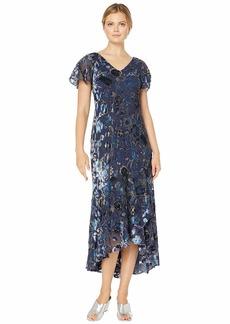 Alex Evenings Long Velvet Burnout Dress with High-Low Hem Detail