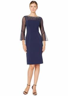 Alex Evenings Short Sheath Dress with Embellished Illusion Neckline
