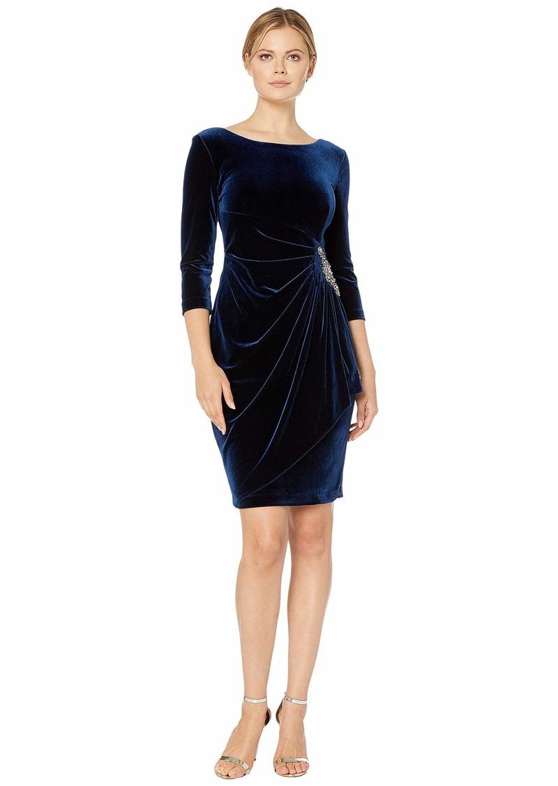Alex Evenings Short Velvet Dress with Beaded Hip Detail