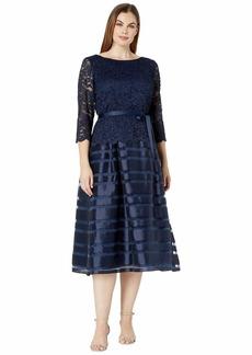 Alex Evenings Tea Length A-Line Mock Dress with Tie Belt