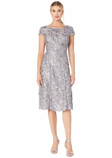 Alex Evenings Tea Length A-Line Rosette Dress